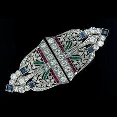 Art Deco Diamond and Colorful Gem Clip Brooch