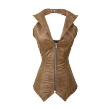 New Vintage Sexy V-neck Steel Bone Corsets Bustier Steampunk Faux Leather Zipper Top Costume Korsett Espartilho S-2XL //Price: $US $35.05 & Up To 18% Cashback //     #gothicoutfit