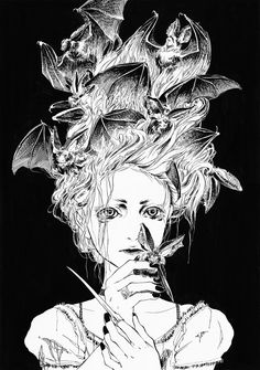 """""""Bat Hair Lady"""" - Does anyone know the original artist? Gothic Horror, Gothic Art, Art And Illustration, Fantasy Kunst, Fantasy Art, Macabre Art, Creatures Of The Night, Sacred Art, Oeuvre D'art"""