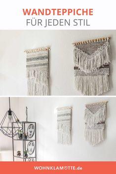 Mit Wandteppichen kann man jede Wand einfach dekorieren. Die kleinen Teppiche bringen ähnlich wie Makramees viel wärme in den Raum. Besonders im Wohnzimmer oder über dem Bett ist der Wandteppich ein schönes Element zur Wanddekoration. Boho Stil, Wardrobe Rack, Diy, Furniture, Home Decor, Tapestry, Small Tapestry, Small Area Rugs, Wall Decorations