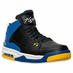 Men's Jordan Flight Origin Basketball Shoes| FinishLine.com | Black/White/Game Royal/Varisty Maize