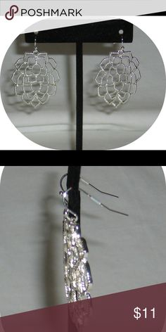 """☃️Silvertone Earrings by Avon Monarch petals earrings by Avon. French wire backs. Silver tone . Open work Leaf Petal design. A rich texture finish gives these nature inspired earrings an ultra luxe quality. 1 7/8"""". NWOT Avon Jewelry Earrings"""