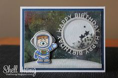 Galaxy background, Gerda Steiner Designs, shaker card, Happy Birthday Circle Frame, Distress Inks, #mftstamps, #gerdasteinerdesigns