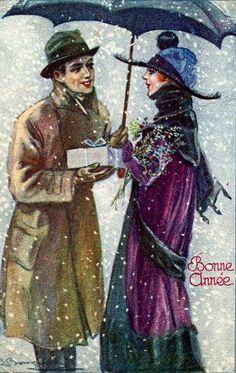 Love, Kisses, Couples, Romance - Bompard postcard