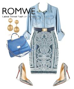 """""""Romwe"""" by themodernduchess ❤ liked on Polyvore featuring Hervé Léger, Hermès, Christian Louboutin, Dolce&Gabbana and Kenneth Jay Lane"""