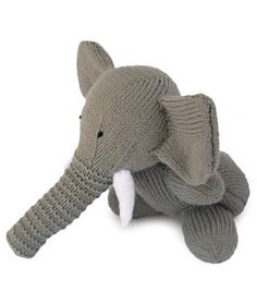 I made the elephant in blue - turned out very cute. I LOVE the trunk on this toy. If I was making it again, I would adjust the patterns to make the legs longer. Otherwise very cute. This was also my first attempt at a stuffed animal - easy pattern, a good place to start for knitters who are getting sick of scarves and pot holders.