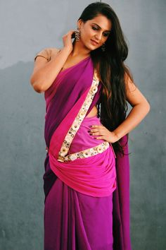 #ombre saree with accessories by #anupd.