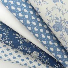 Bundle 5 fat quarters victorian rose blue & ivory 100 % cotton poplin
