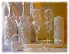 """Купить Свадебный набор """"Изысканность"""" - свадьба, свадебные аксессуары, свадебные свечи, шампанское, замок"""