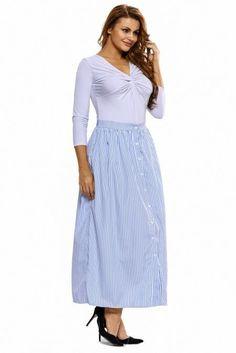 56d018d0c20 Women s Blue White Stripes Button Front Maxi Skirt Size 8-10