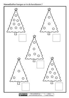 Hoeveel ballen hangen er in de kerstboom ? Preschool Christmas Crafts, Christmas Math, Noel Christmas, Christmas Arts And Crafts, Christmas Activities, Crafts For Kids, Xmas Theme, Theme Noel, Preschool Worksheets