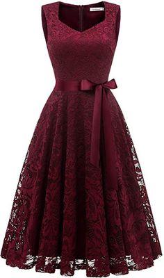 DYLH Damen Spitzen Rockabilly Kleid Festlich Partykleid