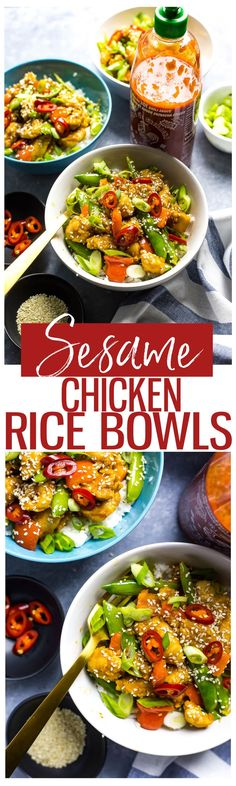 30-Minute Sesame Chicken Rice Bowls | Healthy takeout | Gluten free