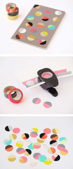 DIY: Washi tape stickers look! more washi tape ideas! Diy Washi Tape Stickers, Washi Tape Cards, Washi Tape Diy, Washi Tapes, Washi Tape Notebook, Washi Tape Frame, Masking Tape Art, Tape Crafts, Fun Crafts