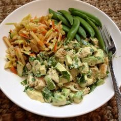 Whole30-Day 25 Lunch:  I die!!! Chicken avocado salad with cilantro lime dressing. Left over Asian apple-cabbage slaw. They tasted so good together! One of my favorite #whole30 lunches!