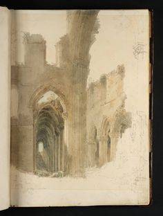 Joseph Mallord William Turner, 'Kirkstall Abbey: The South Aisle and Nave Seen from the South Transept' 1797 (J. Turner: Sketchbooks, Drawings and Watercolours) Joseph Mallord William Turner, Turner Painting, Painting & Drawing, Turner Watercolors, Illustration Art, Illustrations, Artist Sketchbook, Smart Art, Art And Architecture