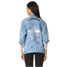 Etre Cecile L'Avenue Des Stars Flamingo Oversized Jacket (£250) ❤ liked on Polyvore featuring outerwear, jackets, light blue, jean jacket, collar jacket, denim jacket, letter jacket and oversized denim jacket