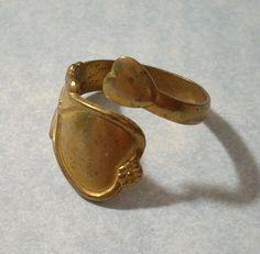 1 Vintage Brass Heart Ring  Adjustable Spoon Ring