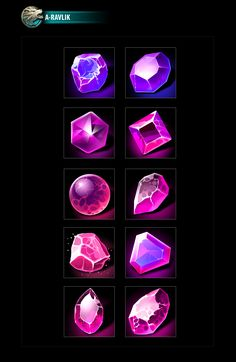 RPG gems icons Digital Painting Tutorials, Art Tutorials, Cristal Art, Game Textures, Jewelry Design Drawing, Game Gem, Mobile Art, Game Concept Art, Game Icon