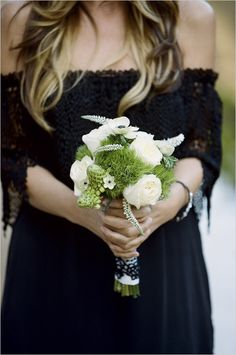 Very unique and beautiful bridal party flowers.  The greens look so soft and provide a great back ground for the white flowers.    Photo:  Braeden Flynn Photography