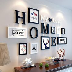 European Stype Home Design Wedding Love Photo Frame Wall Decoration Wooden Picture Frame Set Wall Photo Frame Set, White Black-in Frame from Home & Ga… - New Deko Sites Picture Frame Sets, Wooden Picture Frames, Photo Frame Ideas, Photo Frames On Wall, Photo Frame Design, Picture Frame Placement, Wooden Frames, Picture Frame Shelves, Unique Photo Frames