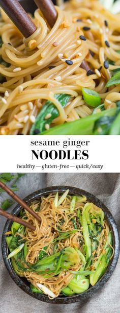 These Sesame Ginger Noodles are bursting with bold ginger flavour and fresh crunchy vegetables! # Food and Drink health Sesame Ginger Noodles - Choosing Chia Vegetarian Recipes, Cooking Recipes, Healthy Recipes, Asian Recipes, Ethnic Recipes, Sesame Recipes, Evening Meals, Noodle Dish, Easy Meals