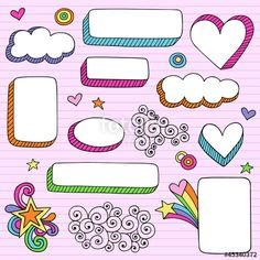 Vetor: Back to School Picture Frame Groovy Doodles Vector Set                                                                                                                                                                                 Mais