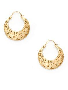 Me & Ro Silver and 10K Gold Om Flower Crescent Hoop Earrings