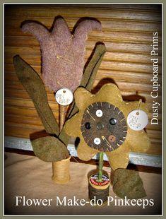 Flower Make-do Pinkeep sewing applique wool by DustyCupboardPrims