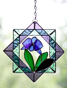 Stained Glass Suncatcher, Blue Orchid, Quilt Block Plaque, Home Decor Stained Glass Suncatchers, Faux Stained Glass, Stained Glass Designs, Stained Glass Projects, Stained Glass Patterns, Leaded Glass, Stained Glass Windows, Mosaic Glass, Rainbow Glass