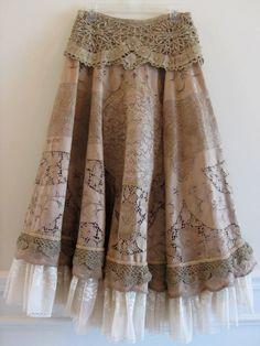 Vintage Victorian Tea Stain Lace Prairie Skirt