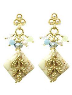 Beige Stone Multi-Shape Earrings from Helen's Jewels