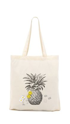 fun pineapple beach tote