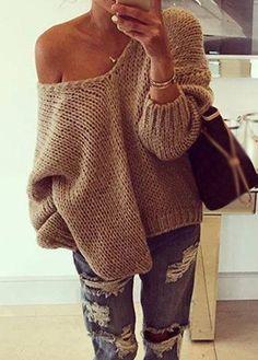 Sexy Skew Neck Khaki Long Sleeve Sweater