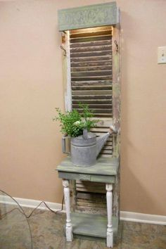Old Window Shutters/Door turned into a perfect gardening side table. by lorraine Old Window Shutters/Door turned into a perfect gardening side table. by lorraine - Door Decor, Furniture Makeover, Shutter Decor, Diy Furniture, Furniture, Shutters Repurposed Decor, Beautiful Houses Interior, Repurposed Furniture, Home Decor