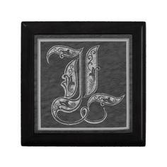 L Monogram Royal Grey Stone Decorative Box
