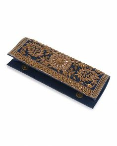 Exclusively.In  Indigo Clutch with Dabka Embroidery