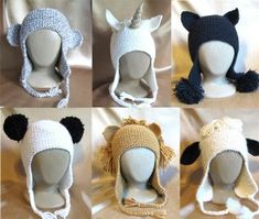Knitting Pure and Simple Hat and Mitten Patterns - 1306 Animal Hats Pattern