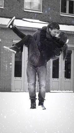In Christmas-y clothes this would be cute- minus the kissing part.. White  PhotographyCouple ... 302cc444e