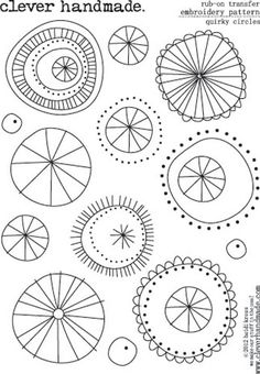Clever Handmade - Embroidery Patterns - Rub Ons - Quirky Circles ... Lots of embroidery patterns are great doodle inspiration