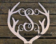 Deer Antler Vine Script Monogram Antler Antler Door by MattieVs