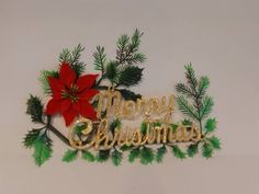 Vintage Merry Christmas Ivy Poinsettia Sign Christmas Signs, Vintage Christmas, Christmas Wreaths, Merry Christmas, Handmade Shop, Handmade Items, Handmade Gifts, Poinsettia, Frocks