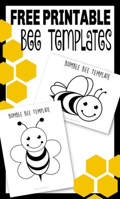 Click and print these adorable bee templates! They can be used on any bee craft, teaching the letter B or an easy bee coloring page activity! Bee Crafts For Kids, Animal Crafts For Kids, Diy For Kids, Daycare Crafts, Kid Crafts, Daycare Themes, Kids Daycare, Printable Crafts, Templates Printable Free