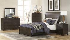 """Homelegance 1923-4PC 4 pc Darby home co Hebron dark cherry finish wood panel headboard and footboard bedroom set. This set includes the Bed, Nightstand, Dresser, Mirror. Bed measures 65"""" x 92"""" x 56"""" H. Nightstand measures 25"""" x 18"""" x 28"""" H. Dresser measures 62"""" x 18.5"""" x 40"""" H. Mirror measures 40"""" x 2"""" x 33.5"""" H. Chest available separately at additional cost and measures 37"""" x 18.5"""" x 56.5"""" H. Also available in Cal... Panel Headboard, Headboard And Footboard, Queen Bedroom, Bedroom Sets, Cherry Finish, Affordable Furniture, King Beds, Wood Paneling, Home Furnishings"""