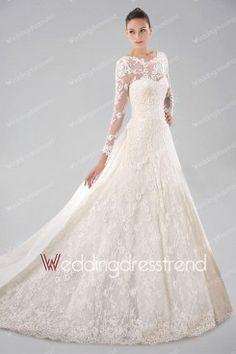 Vintage Princess Watteau Train Scoop Neckline Lace Wedding Dress