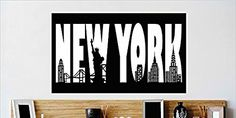 Design with Vinyl Cryst 510 1131 As Seen New York City Buildings Lettering Statue of Liberty Manhattan Brooklyn Verrazano Bridge Vinyl Wall Decal Art, 12 by 24-Inch, As Seen - - Amazon.com