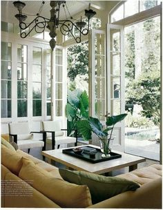 Beautiful Living Room - love the fold away doors! Love the fact that fresh air can flow indoors! The sofa is perfect. The chairs go nicely with the whole room. Beautiful Living Rooms, Beautiful Interiors, Beautiful Homes, Style At Home, Deco Design, My Dream Home, Great Rooms, Home And Living, Interior Inspiration