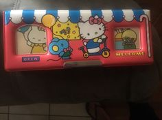VINTAGE HELLO KITTY PENCIL CASE 1985 SANRIO JAPAN ORIGINAL 2 SIDED RED MAGNETIC