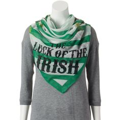 'Luck of the Irish'' Shamrock and Stripes Square Scarf (£16) ❤ liked on Polyvore featuring accessories, scarves, white, striped shawl, square scarves, white scarves, striped scarves and white shawl