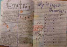 A fun notebook challenge to get them excited about keeping an original writer's notebook: Serendipitous Superheroes!  Here's the lesson: http://corbettharrison.com/GT/SuperheroABCs.htm  This sample is from 7th grader Brooke.